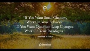 "Steph R. Covey quote at Givent Executive Network ""If you want small changes, work on your behavior; if you want quantum-leap changes, work on your paradigms."""